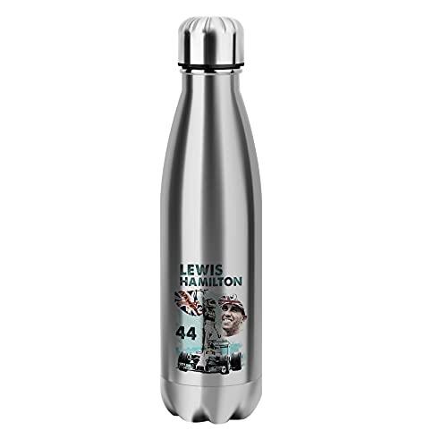 Lewis Hamilton Silver Bottle Bottle Acero Inoxidable para Termo Caliente y fría con Aislamiento 500ml Botellas Reutilizables Divertidos Deportes al Aire Libre Senderismo Gimnasio Bebida Frasco