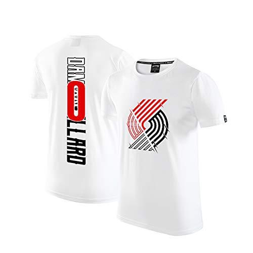 Damian Lillard 0 Blazer Basketball Trikot, Sportswear Basketball Spiel Kleidung, Männer Student Trainingskleidung T-Shirt-White-M