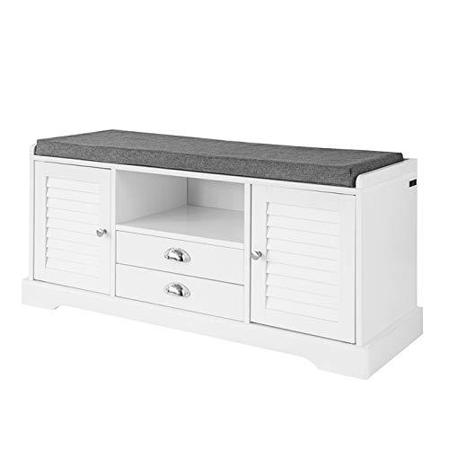 SoBuy FSR71-W Sitzbank mit Stauraum Schuhbank mit Sitzfläche, 2 Türen, 1 Ablage und 2 Schubladen Sitzkommode Weiß BHT ca.: 105x49x37cm
