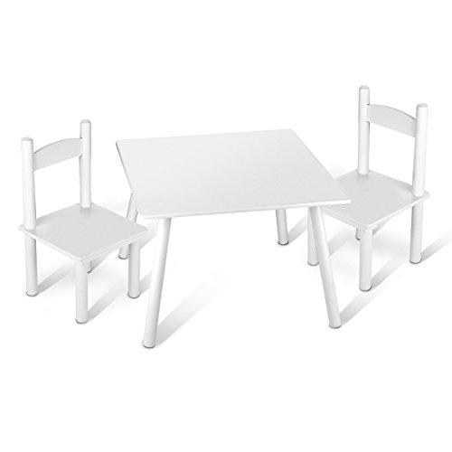 Leomark Holz Kindertisch und 2 Stühle - Weiß - Tisch Kinderstuhl für Kinder, Kindersitzgruppe, Sitzgruppe, Tischgarnitur, Dim: 60x60x42 (H) cm