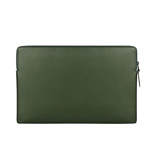 Bolso de Laptop Impermeable de Cuero de PU 13.3 14 15.6 Pulgadas Funda de Manga portátil para MacBook 13 Pulgadas Air Pro Mujer Men-Verde_15 Pulgadas