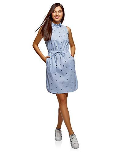 oodji Ultra Damen Baumwoll-Kleid mit Tunnelzug, Blau, DE 40 / EU 42 / L