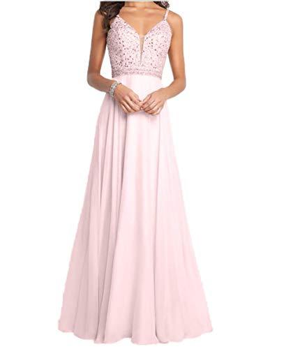 Carnivalprom Damen Spaghetti-Träger Chiffon Abendkleider Lang Hochzeit Hochzeitskleider Perlen Ballkleider(Rosa,44)