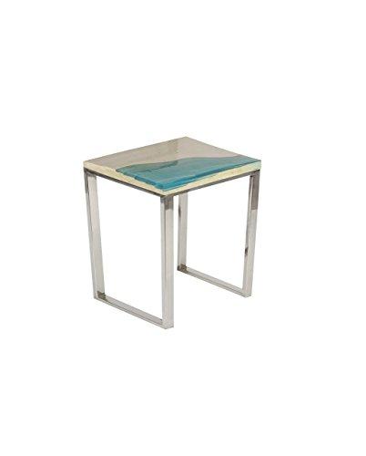 Deco 79 Stainless Steel and Stone Tisch, Edelstahl, Blau/Grau/Silber, D x 18