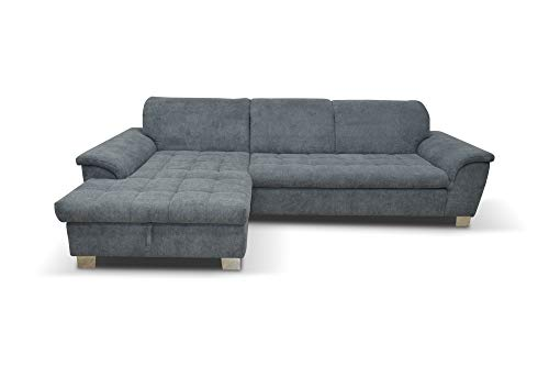 DOMO Collection Ecksofa Franzi / Couch in L-Form Sofa Polsterecke / 279 x 162 x 81 cm / Eckcouch in Stoff grau