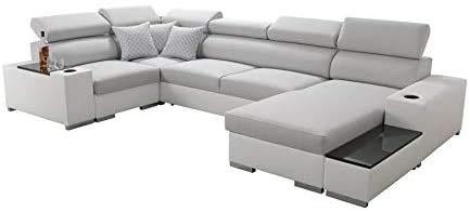 Sofá grande de ángulo con función de la cama, caja de almacenamiento, relajación, izquierda, derecha,A