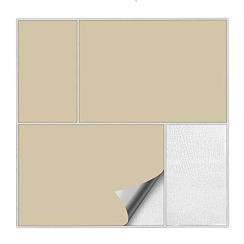 Kiwistar Fliesenaufkleber Beige 82 Seidenmatt - 15 x 20 cm - 50 Stück - Für Bad, Küche etc