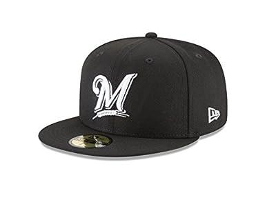 New Era 59Fifty Hat MLB Basic Milwaukee Brewers Black/White Fitted Baseball Cap