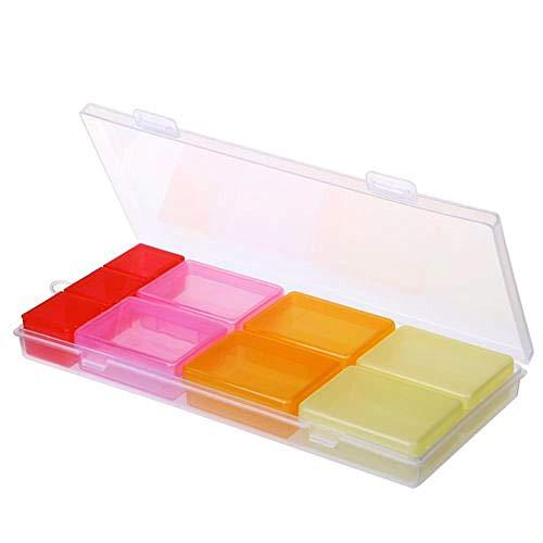 Yinaa Work Drug Management Container Dogo Wekelijkse dosis Draagbare Plastic Opbergdoos Pop Up Pill Organiser Vier kleuren 9 Grid