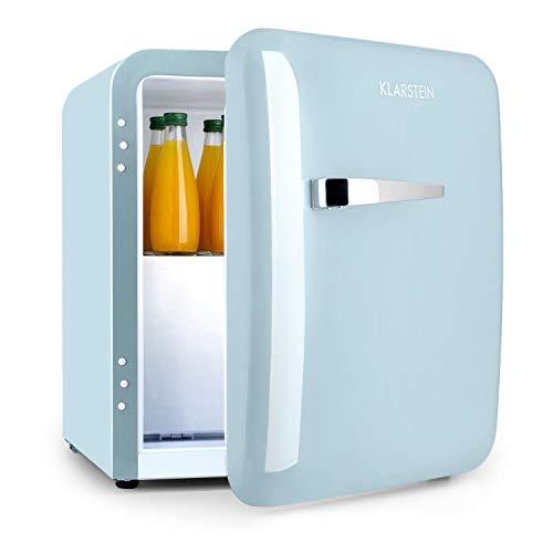 KLARSTEIN Audrey Mini 2in1 - Frigorifero Minibar, Mini Frigo Compatto, Posizionamento Libero, Raffreddamento a Compressione, Volume di 37 L, Temperature: 0-10 °C, Blu Pastello
