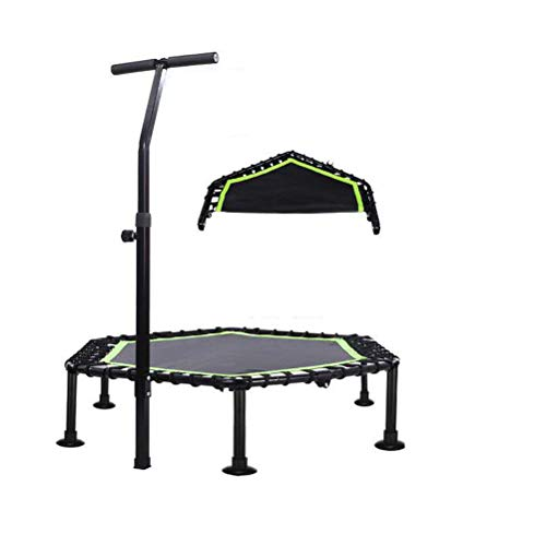 45-inch Foldable Ultra-quiet Fitness Mini Trampoline, Adjustable Handles, Adult Indoor Fitness/Home Exercise Aerobics for Indoor/Outdoor (green)