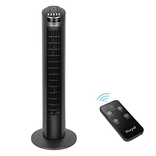 Kuyal Tower Fan, 29-Inch Portable Oscillating Fan, 3 Speed Control, Compact and Space Saving, Oscillating Tower Fan with Remote Control & Timer Function for Home and Office Use, 45W (Dark Titanium)