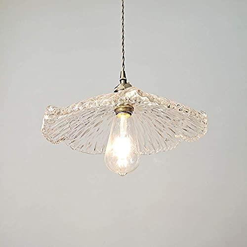 WEM Candelabro decorativo novedoso, luz colgante de simplicidad moderna, pantalla de lámpara en forma de hoja de loto E27, lámpara colgante de techo con zócalo de cobre, entrada de restaurante, balcó