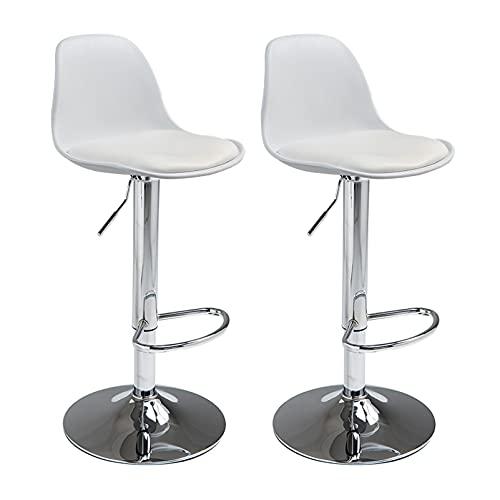 LYP Taburetes Altos de Cocina Juego de 2 taburetes de Bar, sillas de Taburete de Pub, sillas de Cuero de PU, taburetes sin Brazos para Barra de Cocina casera, Patas de Metal, Negro/Gris/Blanco