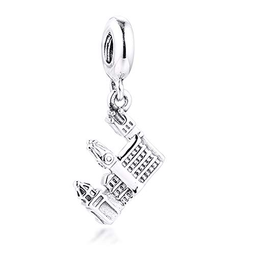 Funshoppp, ciondolo a forma di ponte Carlo di Praga, in argento 925, adatto per braccialetti Pandora originali, gioielli alla moda