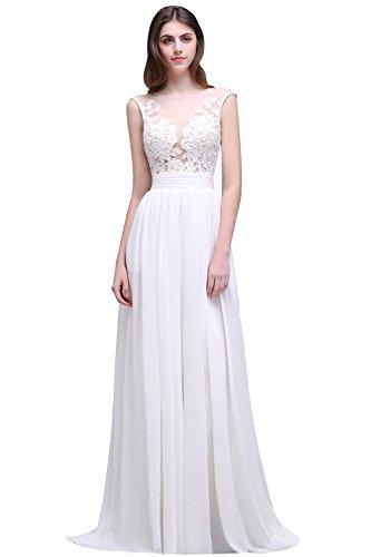 Babyonline® Damen Elegant Ohne Arm Prinzessin Lang Masch Rücken Lace Spitze Satin Brautkleider Hochzeitskleider Weiß 46