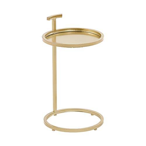 CSQ Plancha Tabla de té, multifunción Sola Capa Base for Mesa Redonda Pequeño Inicio sofá de la Sala Lateral de la Flor Decorativa, tamaño: 40 * 40 * 70cm (Color : Gold, Size : 40 * 40 * 70CM)