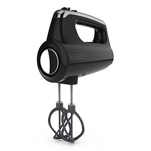 BLACK+DECKER MX600B Helix Performance Premium 5-Speed Hand Mixer, 5 Attachments + Case, Black (Renewed)