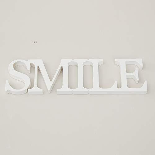 Rebecca Mobili Palabra Smile, Placa Decorativa Blanca roja, Texto de Madera MDF, Estilo Moderno, decoración del hogar - Medidas: 8 x 29 x 1,6 cm (AxANxF) - Art. RE4640