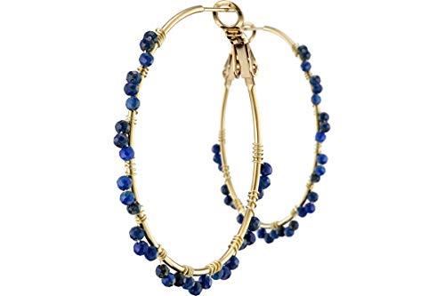 Ikita - Pendientes de aro con perlas, metalización, dorado, lapislázuli, diámetro 40 mm