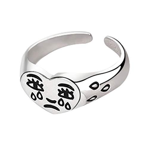 penglai Mode Weinen Herz Ring für Frauen Mädchen Vintage Open verstellbaren Ring