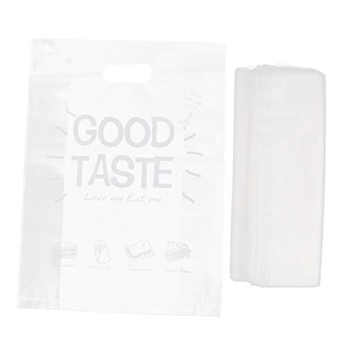 Homyl 50 Stück Plastiktüten Essenspaket Lebensmittelverpackungen Einkaufstaschen mit Griff Kunststofftüte - klar 30x20cm