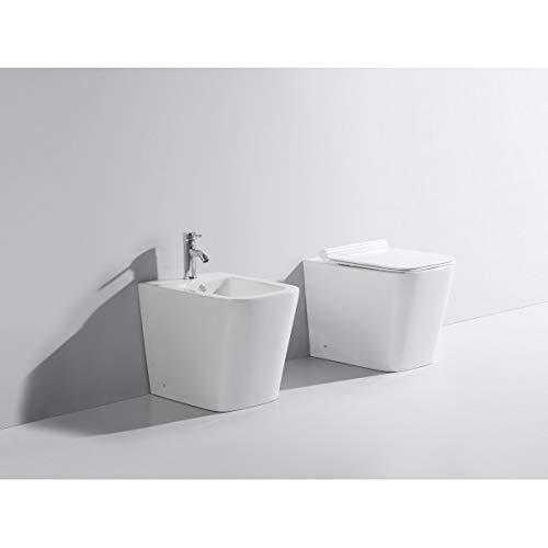 Generico Sanitari a Terra WC Vaso Bidet con coprivaso Soft Close Installazione Filo Parete