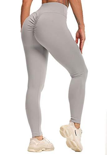 FITTOO Mallas Pantalones Deportivos Leggings Mujer Yoga de Alta Cintura Elásticos Transpirables Yoga Fitness Gris M
