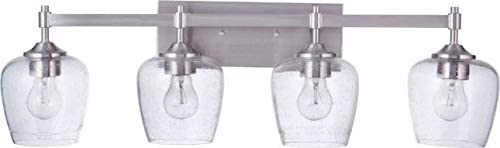 """new arrival Craftmade 12430BNK4 Stellen Clear Seeded Glass Bathroom discount Vanity Lighting, 4-Light 240 Total Watts, 9""""H x 30""""W, sale Brushed Polished Nickel online"""