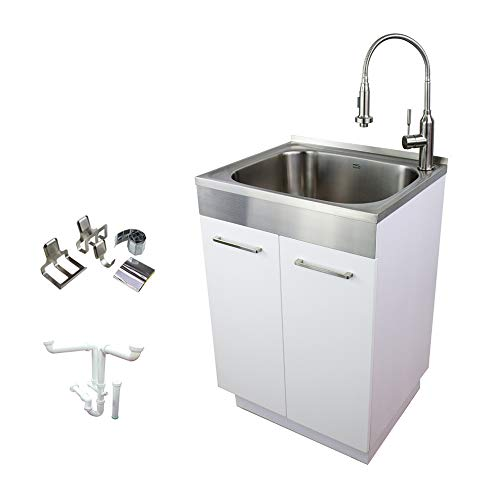 Transolid TCAM-2420-WS 24-in x 20-in x 34.6-in Laundry Sink Cabinet with Faucet and Accessories, White