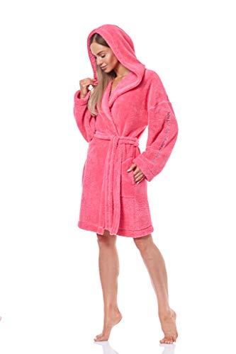 L&L - 9131 Bademantel Damen Soft Langarm Bademantel. Extrem leicht. Hausmantel Bademantel mit Kapuze für Damen. (Amaranth, Medium)