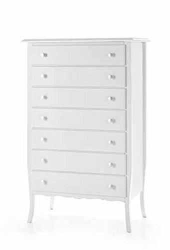 Commode 7 tiroirs en bois blanc classique et moderne.