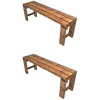 Total Wood 2012 2x Banc Banquette De Jardin En Bois Exterieur Interieur Balcon Terrasse Parc 150x38 5x50h Egalement Disponible Sur Mesure Amazon Fr Jardin