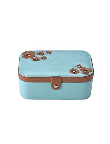 Kleine schmuckschatulle und schmuck aufbewahrungsbox 2 schicht uhr aufbewahrungsbox schmuck aufbewahrungsbox mutter tochter geschenk aufbewahrungsbox (Color : Blue)
