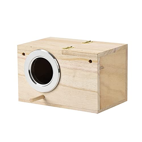 SSSSY Caja de Periquito Casa de Aves Caja de cría de Madera para Lovebirds Parrotlets Apilar Contenedor Pájaro Pájaro Patio de Inicio para Amorbirds (Color : Khaki)