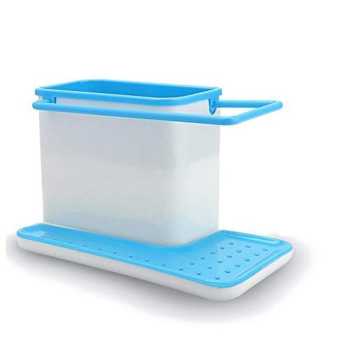 XiaoYing Cesta de drenaje para cocina, estante de esponja para drenaje, escurridor, escurridor, escurridor, escurridor, toallero (color: azul, tamaño: mediano)