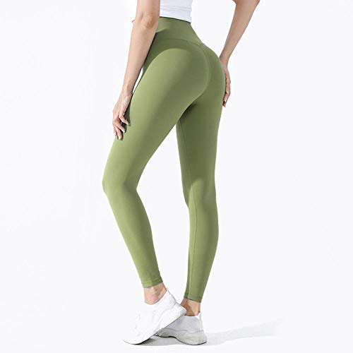 quming TranspiracióN Transpirable Apretado Medias,Pantalones de Yoga sin Costuras Delanteras para Mujer, Legging de Fitness de Cintura Alta-Aguacate Green_XL