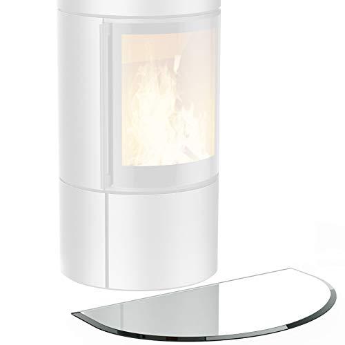 bijon® Funkenschutz-Platte inkl. Silikon-Dichtlippe | Glasplatte Kaminofen mit Facettenschliff | Kaminschutz mit ESG Sicherheitsglas | mit Dichtlippe | 50 x 100 cm | 6mm