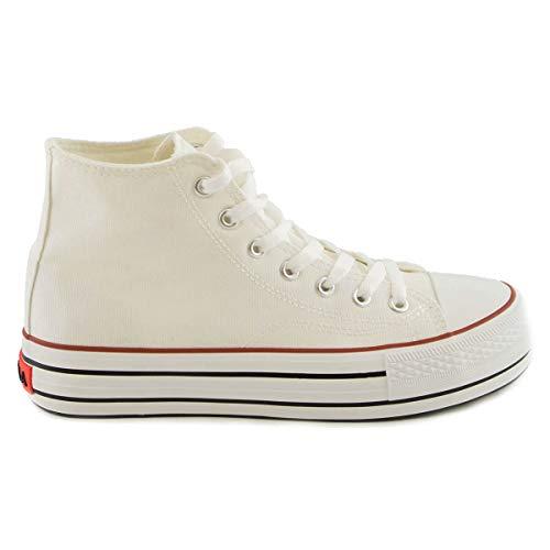 PAYMA - Zapatillas Bambas Botas de Lona Mujer. Puntera de Goma. Playeras de Deporte Casual y Caminar. Color: Blanco Altas Piso Doble. Talla 38
