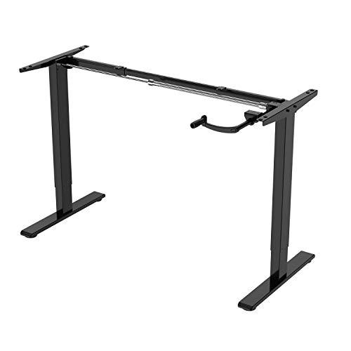 E.For.U Q3 marco de mesa ajustable con manivela de escritorio ajustable en altura (manual, negro)