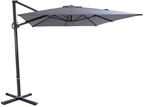 SORARA ROMA Cantilever Parasol | Grey | 250 x 300 cm | Rectangular Sun Shading Garden Umbrella