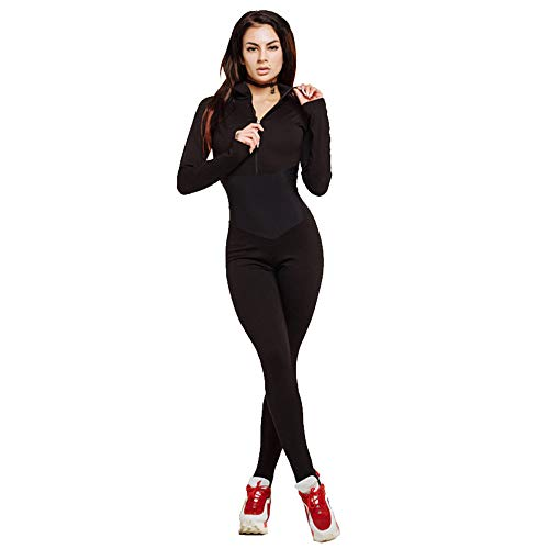 Leggings de gimnasia con pantalones de bolsillo Ropa deportiva para mujer Trajes de moda Costura con cremallera Cintura Yoga Slim Sports Jumpsuit Pantalones deportivos Compresión Entrenamiento Cor