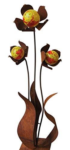 Bornhöft Gartenstecker Metall Rost Gartendeko rostige Dekoration Edelrost mit Glaskugeln (3er Kugelblume)