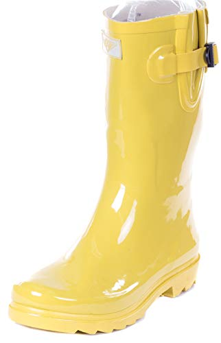 "Forever Young Women Rubber Rain Boots - 11"" Mid-Calf Rain Boots for Women - Waterproof Outdoor Garden Shoes, Colorful Designs Wellies, Yellow, Size 8"