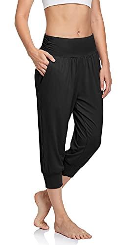 UEU Women's Lightweight High Waist Capri Summer Casual Loose Fitting Comfy Lounge Cropped Yoga Pants Sweat Capris Jogger Sweatpants with Pockets(Black,S)