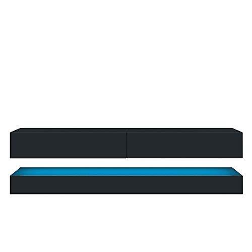 Selsey Fernsehschrank, Schwarz matt/Schwarz Hochglanz, 140 cm