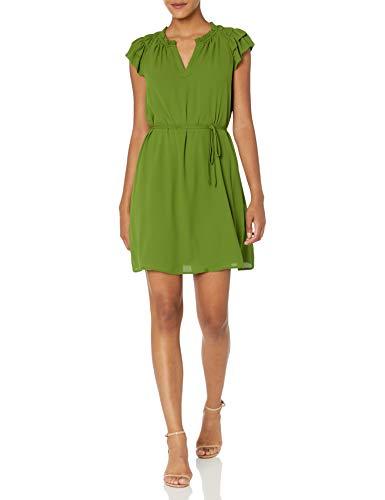 Lark & Ro Women's Relaxed Fit Lightweight Georgette Split Neck Flutter Sleeve Shift Dress, TWIST OF LIME GREEN, 12
