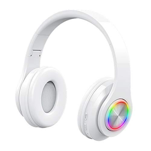 H HILABEE Auriculares Diadema Bluetooth con Sonido Estéreo, nlámbricoa para TV, Cascos Plegable para Skype/PC/Móvil - Rojo Blanco