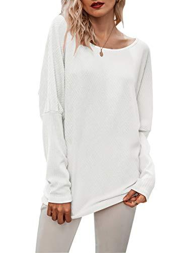 Avondii Damen Langarm Sweatshirt Asymmetrisch Oberteil Loose Langarmshirt...