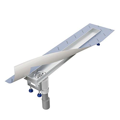 Grundkörper-SET für Duschrinne 70 cm AQUABAD® SDS Pro aus Edelstahl inkl. Haarsieb/Viega Ablauf senkrecht - Abgang seitlich/Bodenablauf, Ablaufrinne (Ohne Abdeckung - separat erhältlich)